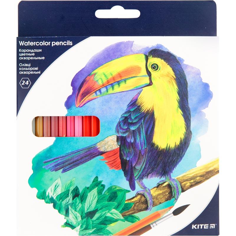 Карандаши цветные акварельные Kite K18-1050, 24 шт.