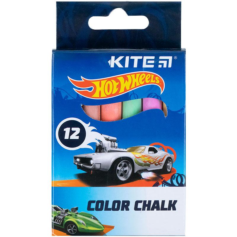Крейда кольорова Kite Jumbo Hot Wheels HW21-075, 12 штук