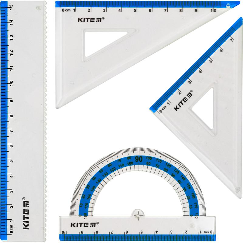Набор: линейка 15 см, 2 угольника, транспортир (голубая полоса) К17-280-07