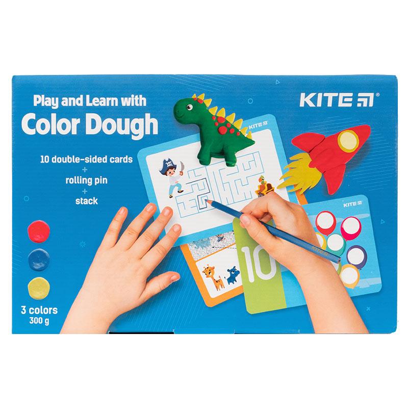 Набір ліпи і розвивайся Kite K21-327-02, 3 кольори + 10 карток + інструменти