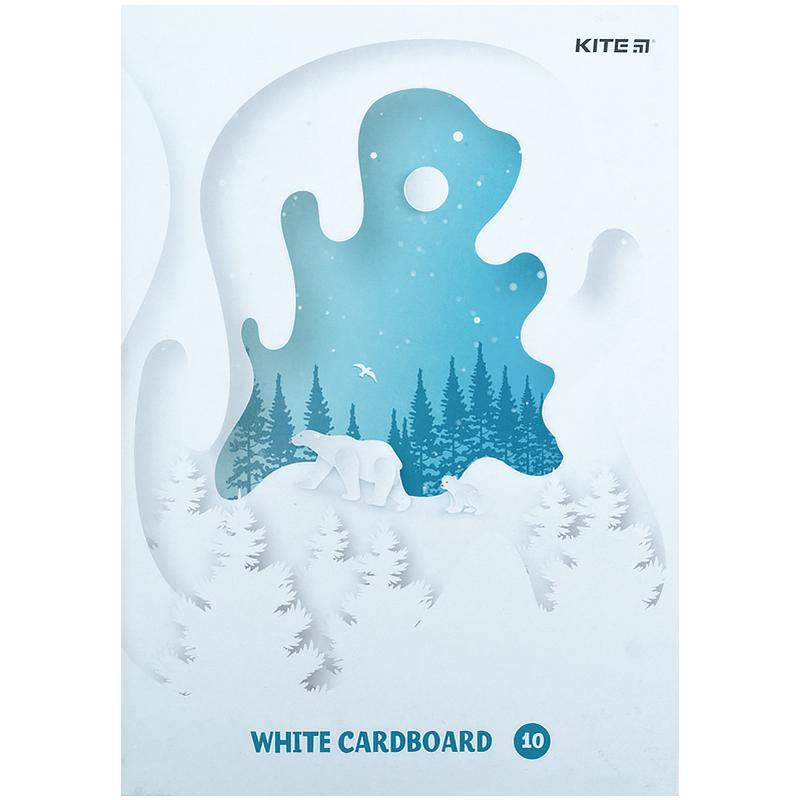 Картон белый Kite K21-1254, А4, 10 листов, папка