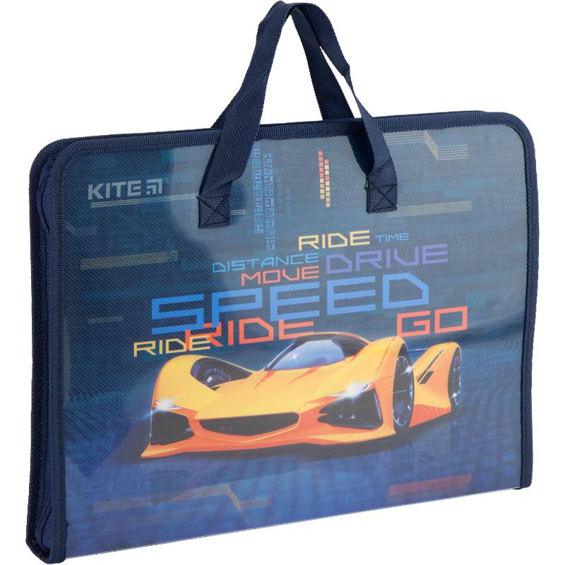 Папка-портфель на блискавці Kite Fast Cars K20-202, 1 відділення, A4
