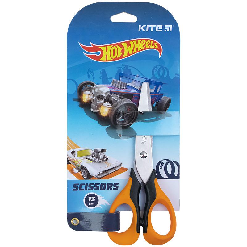 Ножиці з гумовими вставками Kite Hot Wheels HW21-016, 13 см
