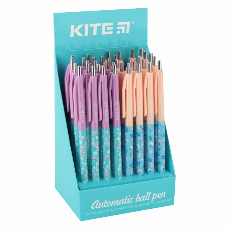 Ручка кулькова автоматична Kite Flowers K20-361-2, синя