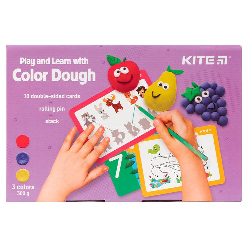 Набір ліпи і розвивайся Kite K21-327-01, 3 кольори + 10 карток + інструменти
