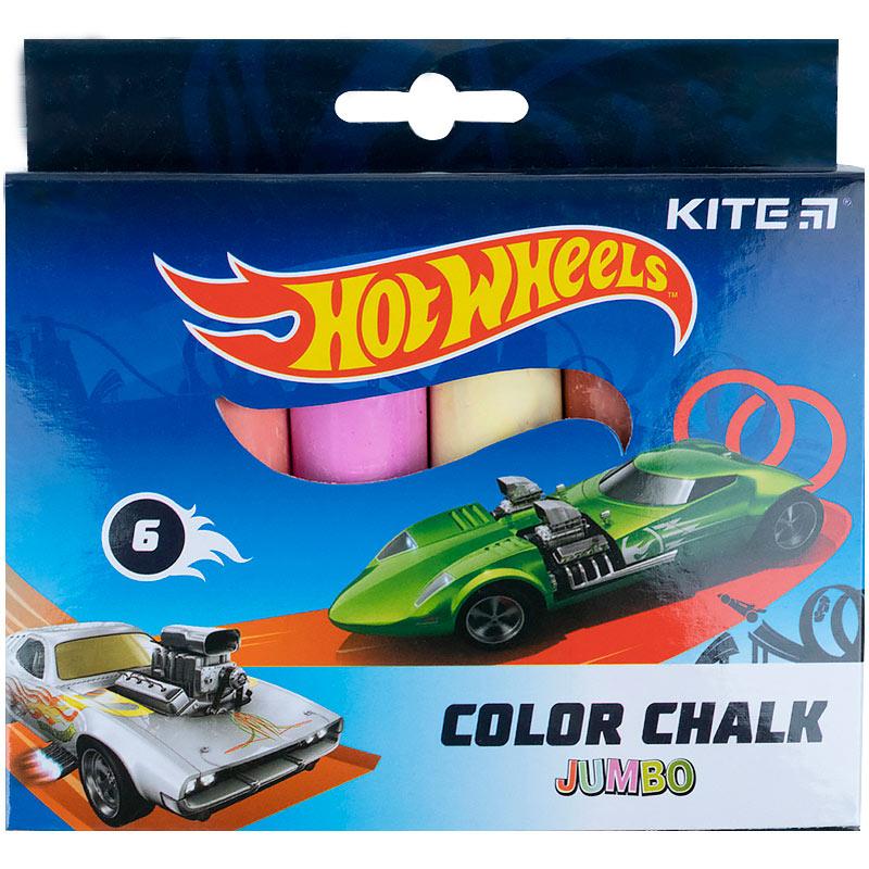 Крейда кольорова Kite Jumbo Hot Wheels HW21-073, 6 кольорів