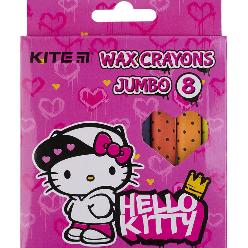 Крейда воскова Kite Jumbo Hello Kitty HK21-076, 8 кольорів