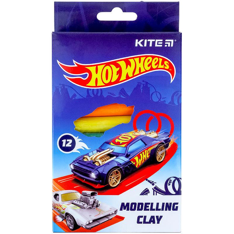 Пластилін восковий Kite Hot Wheels HW21-086 12 кольорів, 200 г