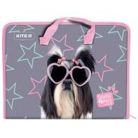 Папка-портфель на молнии Kite Studio Pets SP21-202, 1 отделение, A4