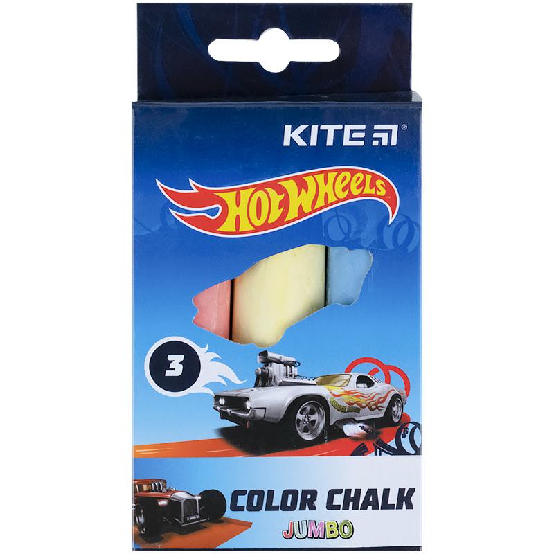 Крейда кольорова Kite Jumbo Hot Wheels HW21-077, 3 кольори