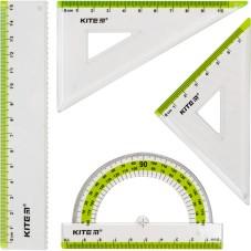 Набор: линейка 15 см, 2 угольника, транспортир (салатовая полоса) К17-280-09