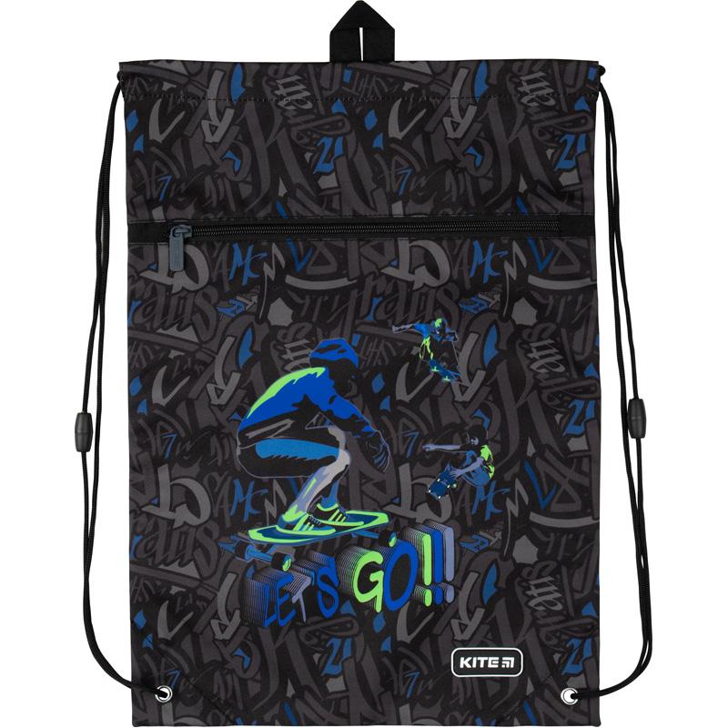 Сумка для обуви с карманом Kite Education Dino and skate K20-601M-16