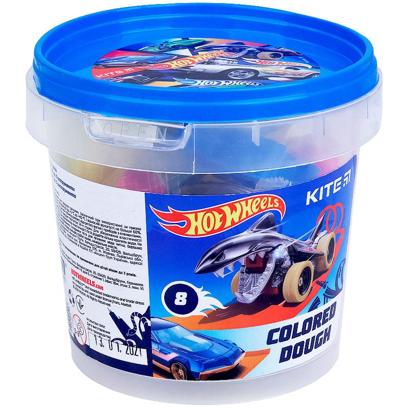 Тісто для ліпки кольорове Kite Hot Wheels HW21-137, 8*20г+2 формочки+стек
